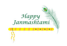 Happy janmashtami, Indian feast of the birth of Krishna. Greeting card janmashtami. Stock Images