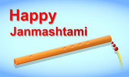 Happy Janmasthami. Flute and light blue background Stock Photography