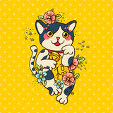 Happy Japanese cat Maneki-neko flowered. Stock Images