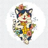 Happy Japanese cat Maneki-neko flowered. Stock Image