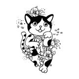 Happy Japanese cat Maneki-neko flowered. Stock Image