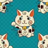 Happy Japanese cat Maneki-neko flowered. Royalty Free Stock Photo
