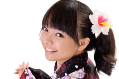 Happy japanese girl. With smiling face, closeup portrait on white background stock photo