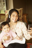 Happy japanese mother and daughter Stock Photography