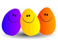 Happy Jellybeans Group Hug. A clip art illustration of a group of 3 jellybean style figures in different colors smiling Stock Photos