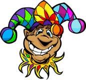 Happy Jester or Joker Cartoon Illustratio. Cartoon Court Jester with Smiling Face Wearing Fun Colorful Hat Cartoon Image stock illustration