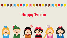 Happy jewish children in fancy dress Enjoy Purim Stock Image
