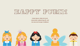 Happy jewish children in fancy dress Enjoy Purim Stock Photos