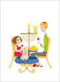Happy jewish family. Is celebrating Chanukah stock illustration