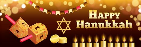 Happy jewish hanukkah banner, realistic style stock illustration