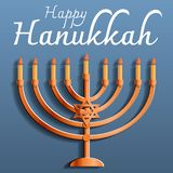 Happy jewish hanukkah concept background, cartoon style stock illustration