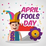 Happy joker with prank flower and calendar april fools day. Vector illustration Stock Image