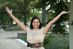 Happy And Joy Body Language 2. Close up body language of happiness and joy Stock Photo