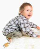 Happy joyful beautiful little boy Stock Photos