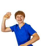 Happy joyful boy gives sign Royalty Free Stock Photos