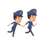 Happy and Joyful Character Constabulary runs and drags his frien Stock Images