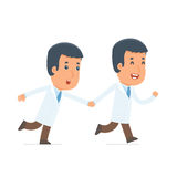 Happy and Joyful Character Doctor runs and drags his friend to s Stock Photography