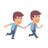 Happy and Joyful Character Freelancer runs and drags his friend Stock Images