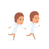 Happy and Joyful Character Nurse runs and drags his friend to sh Royalty Free Stock Images