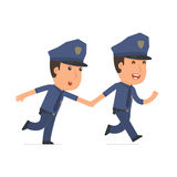 Happy and Joyful Character Officer runs and drags his friend to Royalty Free Stock Image