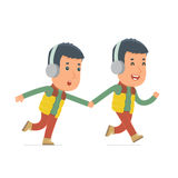 Happy and Joyful Character Winter Citizen runs and drags his friend Stock Photo