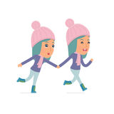 Happy and Joyful Character Winter Girl runs and drags his friend Royalty Free Stock Photo