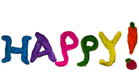 Happy joyful colorful clay stock illustration