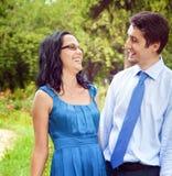 Happy joyful couple laughing outdoor Stock Photos