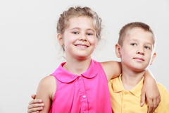 Happy joyful cute kids little girl and boy. Stock Photo