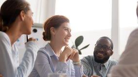 Free Happy Joyful Diverse Business People Talking Laughing At Funny Joke Stock Photography - 149436942