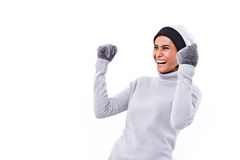 Happy, joyful, exited, surprised woman stock image