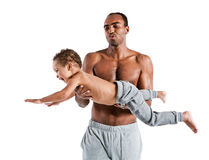 Happy joyful father having fun with his boy, family and father's day concept. Photo set of sporty muscular Hispanic shirtless fitness men with his son over white Stock Images