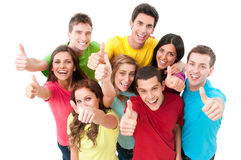 Happy joyful friends cheering royalty free stock photography