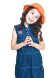 Happy joyful girl in denim dress Royalty Free Stock Images