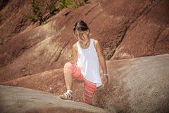 little,happy joyful girl hiking in Cheltanham badl Stock Photography