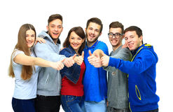 Happy joyful group of friends cheering Royalty Free Stock Image