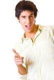 Happy joyful man gesturing. Portrait of young happy joyful man gesturing. Isolated on white Stock Image