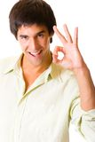 Happy joyful man gesturing Stock Photo