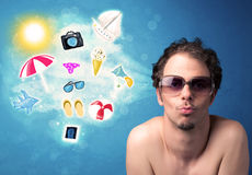 Happy joyful man with sunglasses looking at summer icons Stock Photo