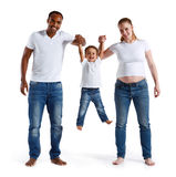 Happy joyful parents having fun with his son. Happy joyful parents having fun with his son, family relationship. Concept of cheerful American family isolated on Royalty Free Stock Images