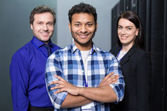 Happy joyful team standing together Stock Photo