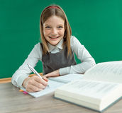 Happy joyful teenage girl teaches homework. Stock Photography