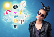 Happy joyful woman with sunglasses looking at summer icons Royalty Free Stock Images