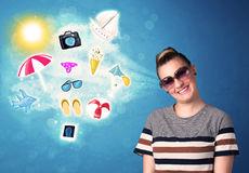 Happy joyful woman with sunglasses looking at summer icons Royalty Free Stock Photography
