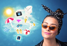 Happy joyful woman with sunglasses looking at summer icons Stock Photos