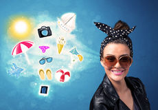 Happy joyful woman with sunglasses looking at summer icons Royalty Free Stock Photos