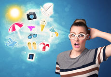 Happy joyful woman with sunglasses looking at summer icons Stock Photo