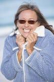Happy joyful woman winter jacket outdoor Stock Photo