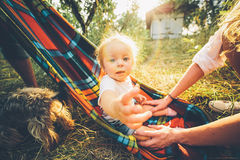 Happy joyful young family Royalty Free Stock Photography