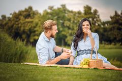 Happy joyful young family husband and his pregnant wife having fun together outdoors, at picnic in summer park stock images